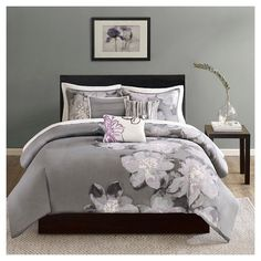 Decorate your bedroom with the beautiful, floral print of the Madison Park Serena Duvet Cover Set. The charcoal grey base of this soft comforter set illustrates a watercolor floral design on one side, adding a crisp, modern look to your bedding. Duvet Cover Sets, Comforter Sets, Reversible Duvet Covers, Duvet Bedding, King Comforter Sets, Cotton Duvet Cover, Duvet Sets, Floral Duvet Cover, Comforters