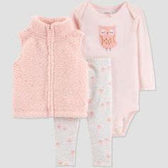 Baby Girls  3pc Sherpa Owl Vest Set - Just One You® made by carter s  Peach White 05e824528