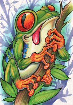 The Art of Tony Ciavarro ( Home) Desenho New School, Dessin Old School, Frog Tattoos, Body Art Tattoos, Tattoo Drawings, Mago Tattoo, Graffiti Characters, Frog Art, Animal Tattoos