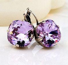 New w/Swarovski Violet Cushion Cut Crystal Earrings Gems Jewelry, Jewelery, Jewelry Bracelets, Jewelry Accessories, Necklaces, Crystal Earrings, Crystal Jewelry, Stud Earrings, Swarovski Jewelry