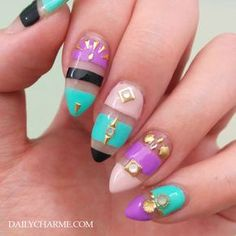 Try some of these designs and give your nails a quick makeover, gallery of unique nail art designs for any season. The best images and creative ideas for your nails. Simple Nail Art Designs, Best Nail Art Designs, Beautiful Nail Designs, Glue On Nails, Diy Nails, Cute Nails, French Nails, Nagel Hacks, Nail Jewelry
