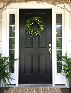 Front door color is basic black exterior paint. Front door color is basic black exterior paint. Painted Doors, Painted Front Doors, Front Porch Decorating, Black Front Doors, Beautiful Front Doors, Front Entry Doors