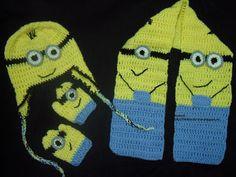 Rendas da Mãe: Gorro, cachecol e luvas minion em croché