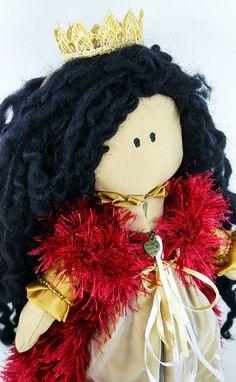 Doll Princess Elis, Luxury Handmade toy, X-mas gift. Height: 34 Centimeters Materials: wool, acryl, Gabardine fabric, chiffon, Holofayber, satin, lace