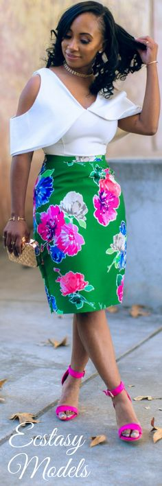 Skirt - Bloom // Fashion Look by Madame Smith African Print Dresses, African Fashion Dresses, African Dress, African Attire, African Wear, African Women, Bloom Fashion, Chic Outfits, Fashion Outfits