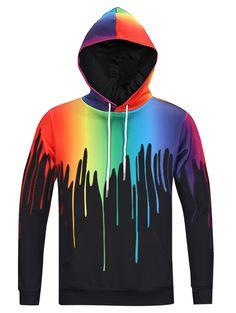 New Look Paint Splash Print Long Sleeve Hoodie For Men