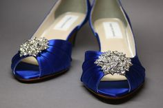 royal blue wedding ideas | Something Blue Wedding Shoes -- Royal Blue D'Orsay Peeptoes with ...