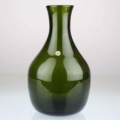 Vintage Glas Vase Made in Poland grün Luftblasen Bubbles H1D   eBay