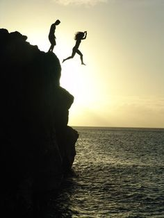 Jumping off cliffs with my cousin...as long as he jumped first ;)