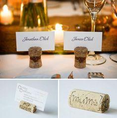Wedding favors and place settings. #weddingfavors, #winecorks