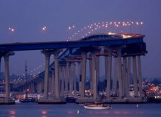 """Drove over this to Coronado Island-  San Diego's Coronado Bridge was named the country's """"most beautiful bridge"""" in 1970 by the American Institute of Steel Construction."""