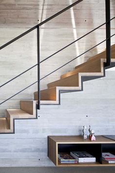 Y Duplex Penthouse by Pitsou Kedem Architects – staircase Steel Stairs, Wood Stairs, House Stairs, Painted Stairs, Stair Railing Design, Stair Decor, Railings, Banisters, Houses