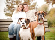 Family with dogs portraits