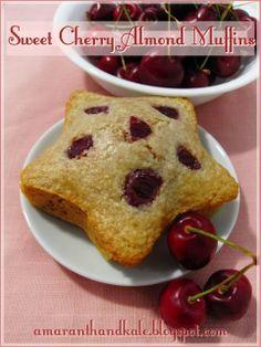 Amaranth & Kale: Sweet Cherry Almond Muffins.  ☀CQ #GF #glutenfree