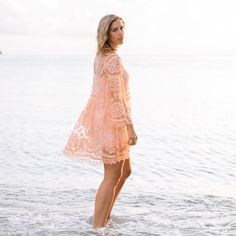 Free People peach lace dress Gorgeous Free People X Jen's Pirate Booty brand. Comes with slip dress underneath but can also be used as a beach coverup. Free People Dresses Mini