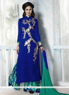 Flamboyant Resham Work Georgette Blue Designer Palazzo Salwar Kameez Model: YOS8102