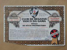 Brazil, Club de Regatas Vasco da Gama, Titulo de Socio Proprietario, 1983