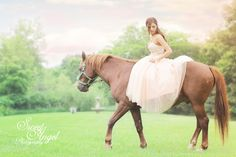 Horse sessions with teen girls wearing their prom dresses or any long dresses, boys in cowboy gear, and little girls in long flowy dresses. These look mystical and romantic. Done by Sweet Angel Photography  www.sweetangelphotography.com  www.Facebook.com/sweetangelphotography