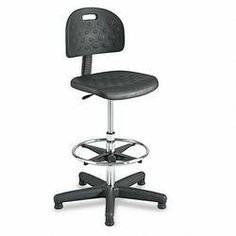 "Safco Products 6680 Workbench Chair, 5 Casters, 25 in.x25 in.x39-49 in., Black by Safco. $225.03. 5 Casters. 25 in.x25 in.x39-49 in.. Sold Individually as 1 Each. Black. Workbench chair has an adjustable 18"" foot ring and black microcellular, self-skinning polyurethane foam seat and back. Durable steel 25"" diameter base has black nylon shell coating and nylon glides with 2"" casters. Functions include pneumatic seat-height control, 360 degree swivel, backrest height adjustment ..."
