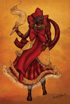 ♫ Na terra dos Orixás                 / O amor se dividia / Entre um Deus que era de paz / E outro que combatia / Como a luta só termina / Quando existe um vencedor / Iansã virou rainha / Da coroa de Xangô ♫
