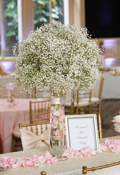 baby's breath centerpiece w/o flowers in vase
