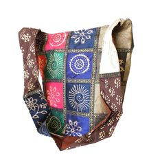 Shimmering Tote bag - vibrant & colorful with gold patterns and square patch work.  $24.99