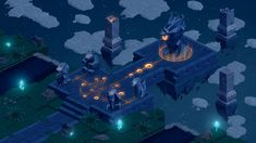 Isometric Game, Dragons, Temple, Game Environment, School Projects, Great Britain, Fantasy Art, Photoshop, Clouds