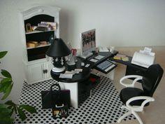 Barbie Doll House Office Furniture Desk Bookshelf Accessories Lamp for Diorama | eBay