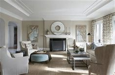 "I'm definitely considering this for an upcoming dining room makeover. Farrow and Ball Stony Ground No. ""This beige may be neutral, but I swear it has medicinal, calming qualities… Eclectic Living Room, Living Room Designs, Living Spaces, Living Rooms, Farrow And Ball Living Room, Decoration Gris, Family Room Design, Family Rooms, Cheap Home Decor"
