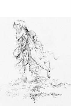 Benefits Hurricane Relief 100%, Pencil Drawing Fairy Art Heartbroken Archival Giclee Print of my Original Pencil Drawing, Fairy Fine Art. via Etsy.