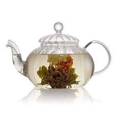 Ribbed Glass Teapot - blooming teas