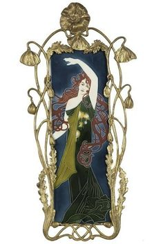 ceramic tile, Art Nouveau dancing maiden, designed by Carl Sigmund Luber (1863-1934), metal poppy flower frame