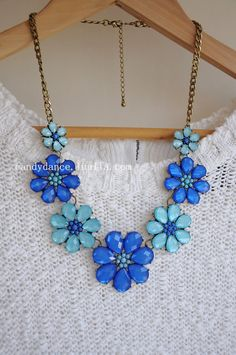 Blue Flowery Jewel Crystal Statement Necklace