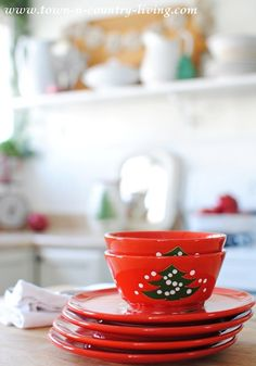 My Christmas Home Tour ~ 2014 & christmas dishes - German Waechtersbach Dinnerware Christmas Tree ...