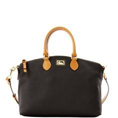 Dooney & Bourke Dillen Leather Satchel w/ Tan trim – Navy Leather Satchel, Leather Handbags, Michael Kors Hamilton, Beautiful Bags, Travel Accessories, Dooney Bourke, Wallet, Purses, Black