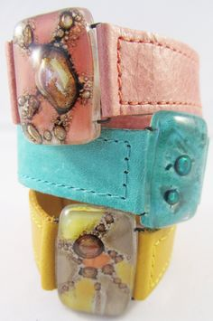 Bracelet Leather and fused glass cuffs. 1.0 wide by CarliBruno, $47.00