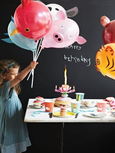 party animal balloons - zoo circus theme birthday toddler kid. Create your own party animals with this set of six balloons on wands with pre-cut features to stick on. Make a bird, a bear, a koala, a tiger, a rhino and a pig. Great fun for parties!