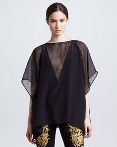 ShopStyle: Versace Silk Georgette Poncho Top, Black