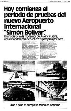 Funcionamiento el nuevo Terminal Internacional Simón Bolívar. Publicado el 9 de agosto de 1978.