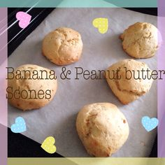 簡単にすぐ出来ちゃうスコーン(バナナ一本、ピーナッツバタースプーン(小2)、ホットケーキミックス150グラム、砂糖(小3ー4)、豆乳ちょっとだけ)、180℃のオープンで15分 Super easy scones only (One ripped banana, two tea spoons of peanut butter, 150 grams of pancake mix, 3-4 tea spoons of sugar and some soy milk, to make a soft dough)、bake for 15 minutes