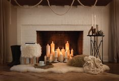 Empty Fireplace Ideas, Unused Fireplace, Farmhouse Fireplace, Fireplace Mantle, Fireplace Candle Holder, Candles In Fireplace, Modern Design, New Homes, Room Decor