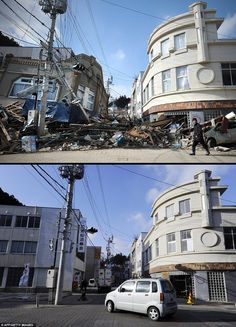 photos during and after japanese tsunami