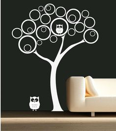 baby modern Nursery Wall Decal Includes: 1 Tree, 2 owls    This decal measures 59 wide x 74 high ~Custom Order~  Please Convo me with any