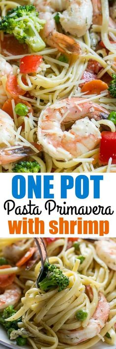 This delicious Shrimp Pasta Primavera is IDEAL for busy weeknights! It's ready in 35 minutes and uses just one pot for everything making cleanup a breeze.
