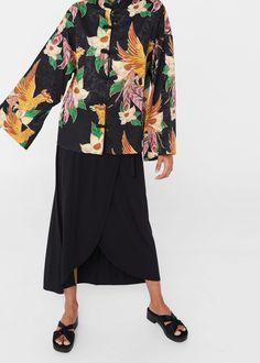 Bluzka kimono z kwiatowym motywem | MANGO