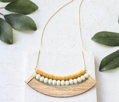 Long Canoe Necklace, Laminate Pendant Necklace, Colorful Beads Necklace, Long Sequin Necklace, Wood Necklace, Statement Necklace, Signature