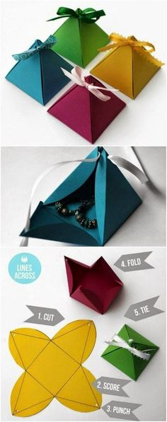 Origami pyramid gift boxes:
