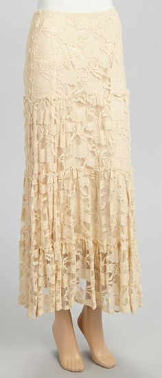Light Sand Lace Peasant Maxi Skirt