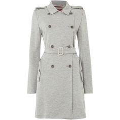 Max Mara Magenta double breasted trench coat ($495) ❤ liked on Polyvore featuring outerwear, coats, grey, women, maxmara coat, double breasted trench coat, grey coat, gray trench coat and maxmara