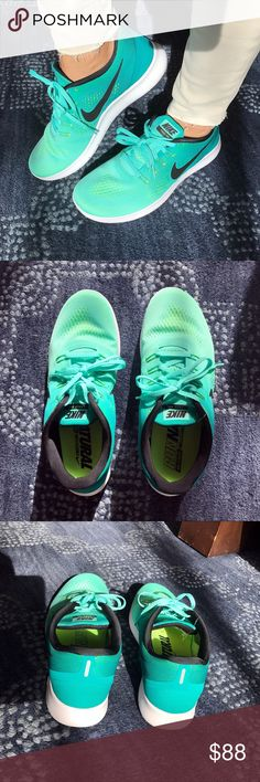 Turquoise Mint Nike Running Sneakers  Brand new without tags. Ron natural, Nike running free and flexible sneakers. Nike Shoes Sneakers